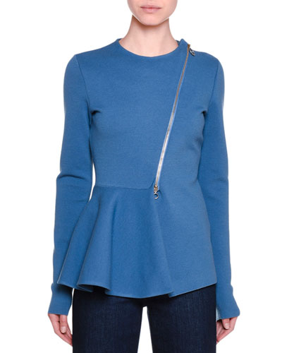 Strong Lines Asymmetric-Zip Peplum Jacket, Steel Blue