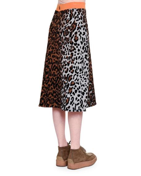Cheetah-Print Slim Skirt, Beige/Black/Havana