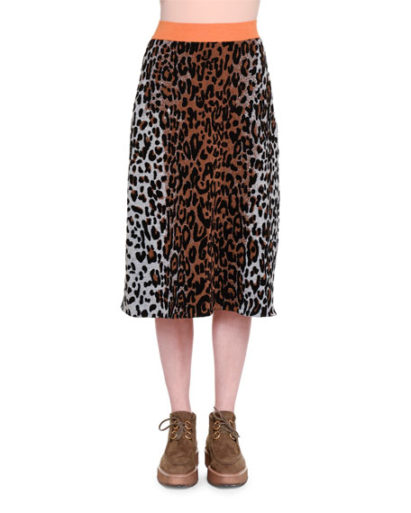Cheetah-Print Slim Skirt, Beige/Black/Havana