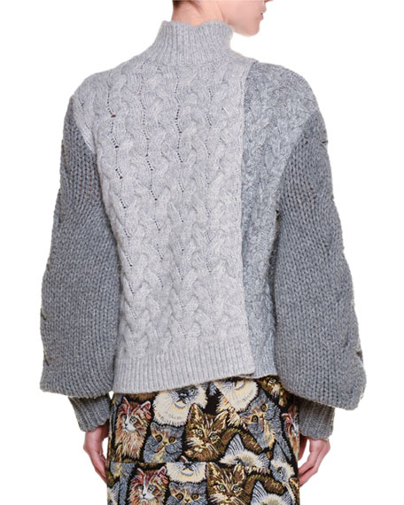 Colorblock Cable-Stitch Sweater, Wolf Gray