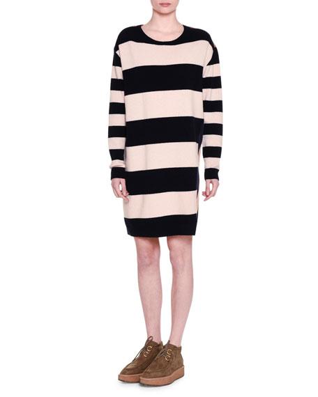 Stella McCartney Long-Sleeve Wide-Striped Combo Shift Dress,