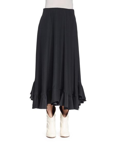 Chloe Flounce Hem Midi Skirt Black Neiman Marcus