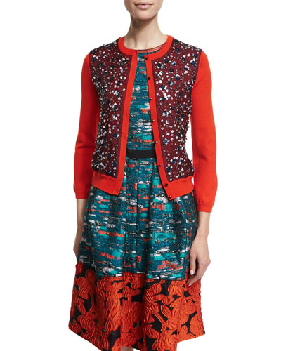 3/4-Sleeve Sequin-Front Cardigan, Poppy/Navy