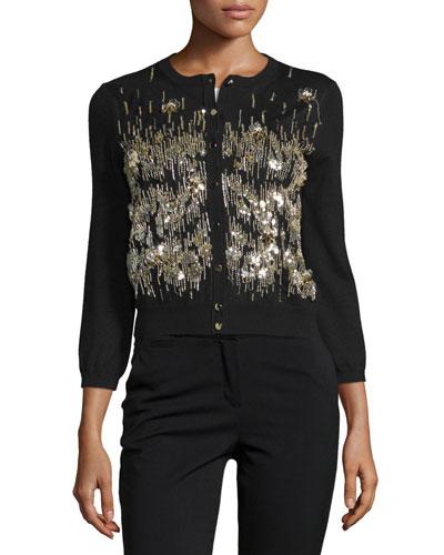 3/4-Sleeve Sequin-Front Cardigan, Black/Gold