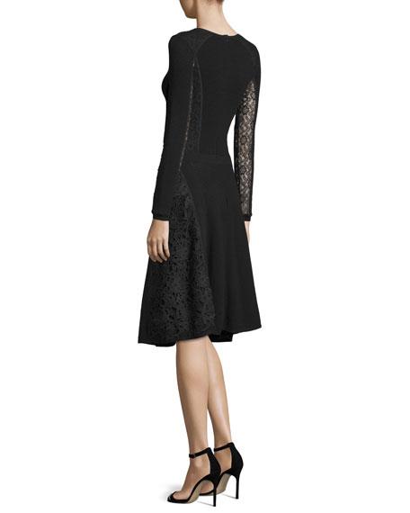 Button-Front Lace-Inset Dress, Black