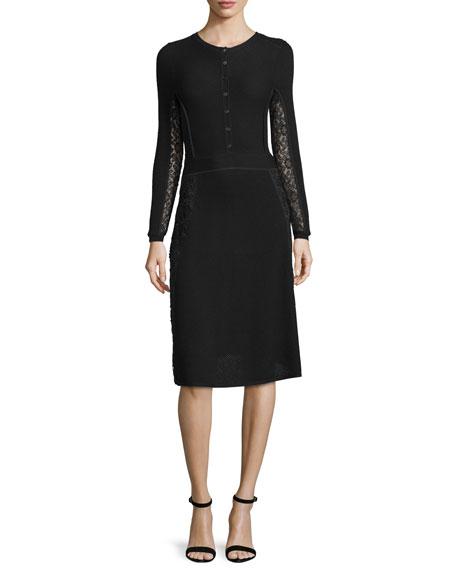 Oscar de la Renta Button-Front Lace-Inset Dress, Black