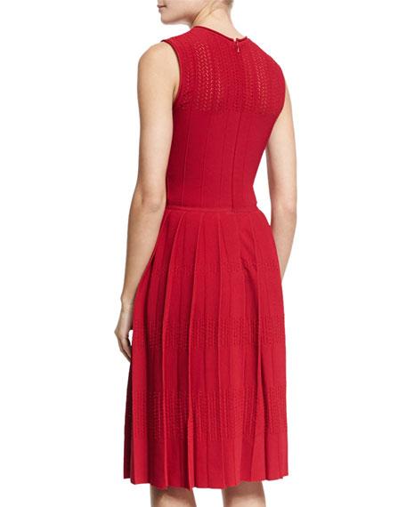 Sleeveless Pleated-Skirt Knit Dress, Berry
