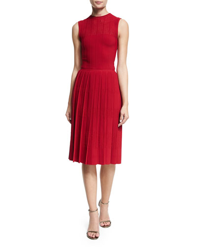 Sleeveless Pleated-Skirt Knit Dress, Berry