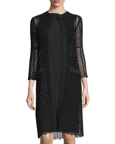 Oscar de la Renta 3/4-Sleeve Open-Knit Coat, Black