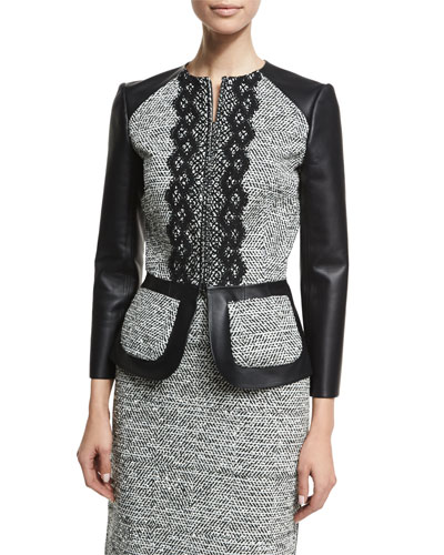 3/4-Sleeve Zip-Front Leather/Tweed Peplum Jacket, Black/Ivory