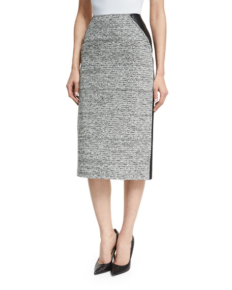 Oscar de la Renta High-Waist Tweed/Leather Pencil Skirt,
