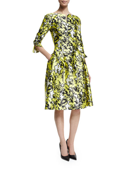 Oscar de la Renta3/4-Sleeve Printed Dress W/Pockets, Citron