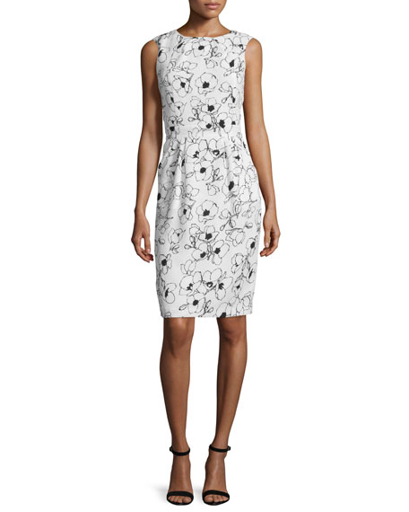 Oscar de la RentaSleeveless Floral-Print Sheath Dress,