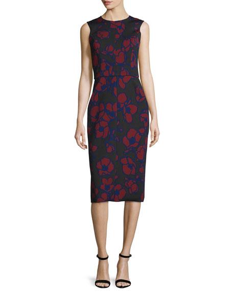 Oscar de la Renta Sleeveless Poppy-Print Sheath Dress,