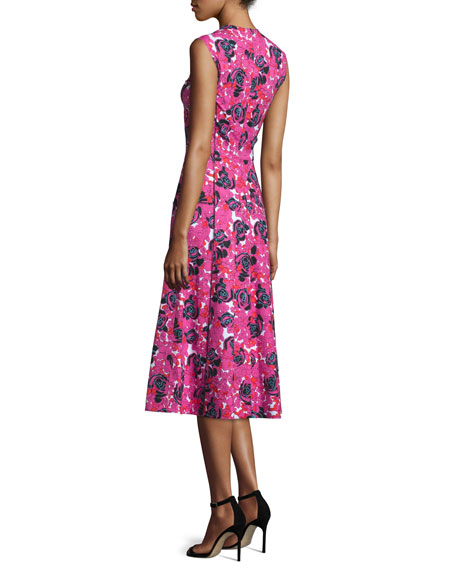 Sleeveless Floral-Print Midi Dress, Fuchsia