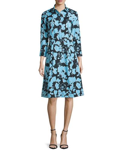 Floral Long-Sleeve Shirtdress, Celeste
