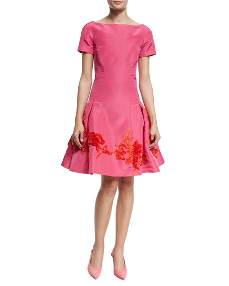 Oscar de la Renta Short-Sleeve Embroidered Cocktail Dress,