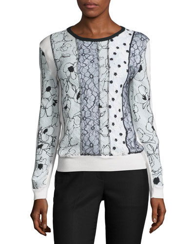 Mixed-Print Lace-Front Pullover, White/Black