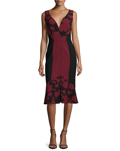 Sweetheart-Neck Flounce-Hem Dress, Bordeaux/Black
