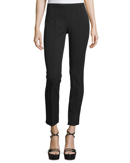 Michael Kors Collection Side-Zip Skinny Cropped Pants, Black