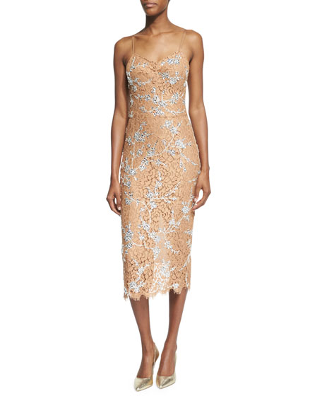 Michael Kors Collection Crystal-Encrusted Floral-Lace Slip Dress,