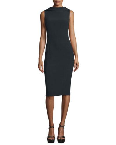 Sleeveless Folded-Collar Sheath Dress, Black