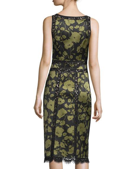 Lace-Inset Floraflage-Print Tank Dress, Black/Army
