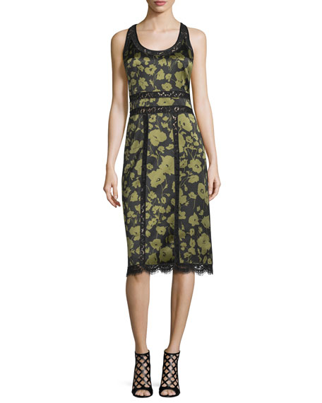 Michael Kors Collection Lace-Inset Floraflage-Print Tank Dress,
