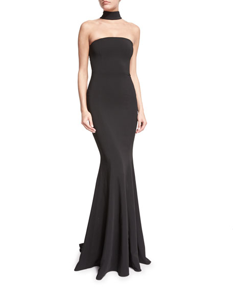 Racerback Mock-Neck Mermaid Gown, Black