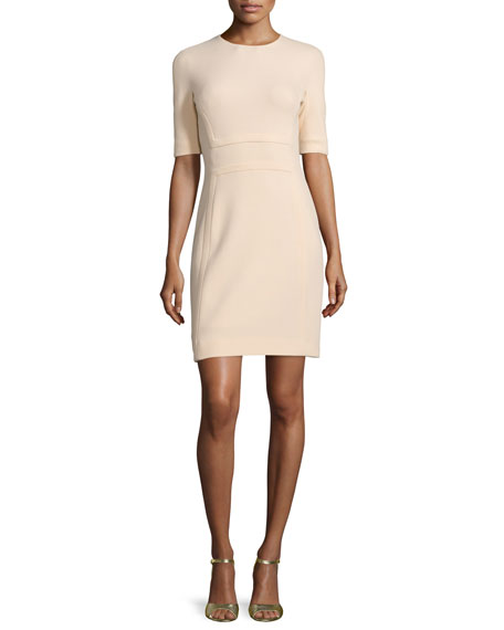 Michael Kors Collection Half-Sleeve Jewel-Neck Sheath Dress, Nude