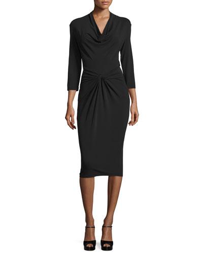 3/4-Sleeve Twist-Front Dress, Black