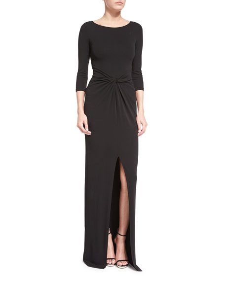Michael Kors Collection 3/4-Sleeve Twist-Front Gown, Black