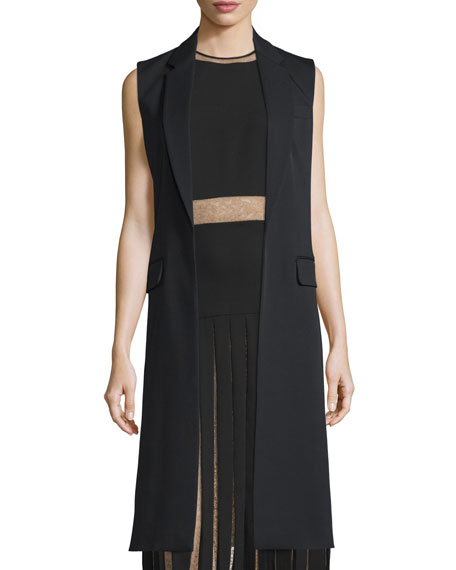 Michael Kors Notched-Lapel Open-Front Long Vest, Black
