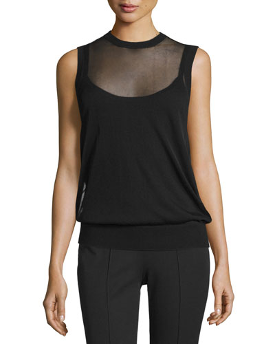 Jewel-Neck Layered Shell, Black