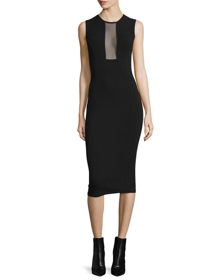 Michael Kors Collection Sleeveless Mesh-Inset Midi Dress, Black