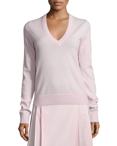 Michael Kors Collection V-Neck Slash-Back Cashmere Sweater, Blush