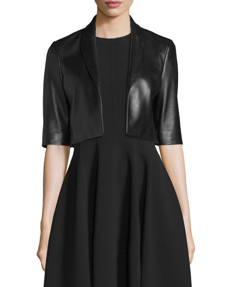 Michael Kors Collection Half-Sleeve Cropped Leather Jacket, Black