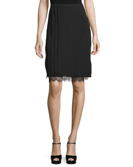 Michael Kors Lace-Underlay Pleated Pencil Skirt, Black