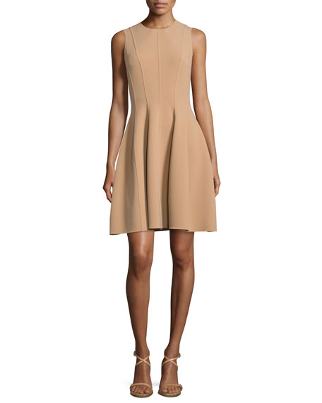 Michael Kors Collection Stretch-Wool Bell-Skirt Dress, Suntan