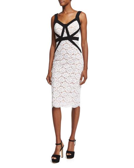 Michael Kors Gardenia Lace Sheath Dress W/Contrast Trim,