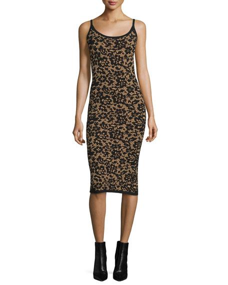 Michael Kors Scoop-Neck Floral Tank Dress, Black