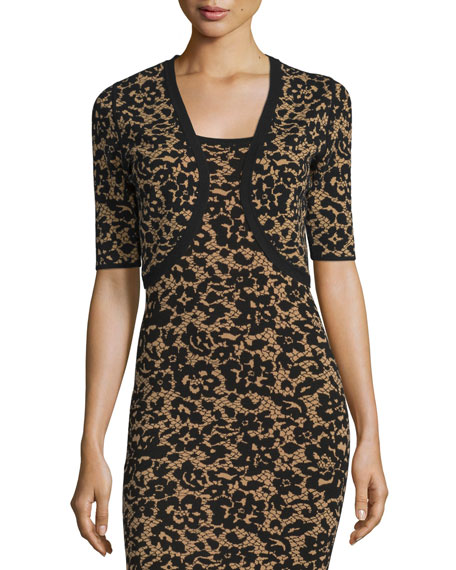 Michael Kors Collection Half-Sleeve Floral Shrug, Black