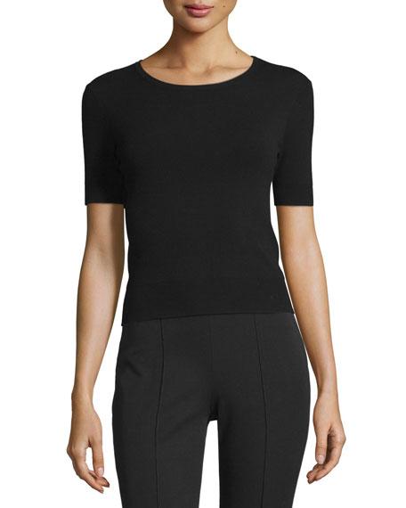 Michael Kors Short-Sleeve Round-Neck T-Shirt, Black
