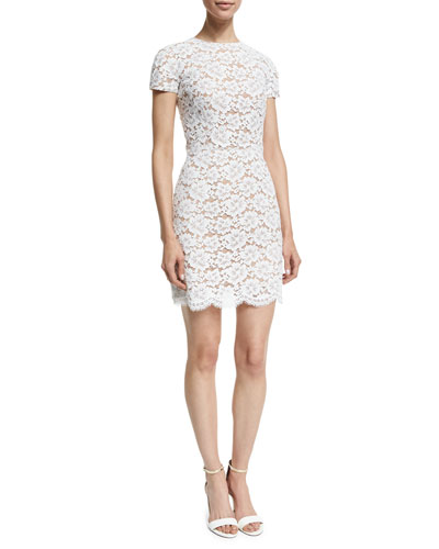 Short-Sleeve Gardenia-Lace Mini Dress, Optic White