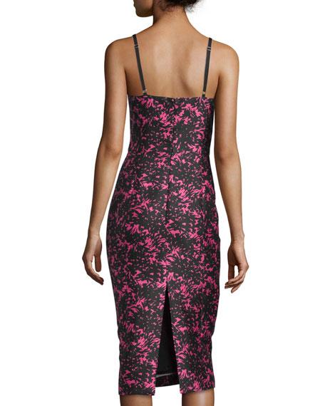 August Floral-Print Sheath Dress, Peony/Black