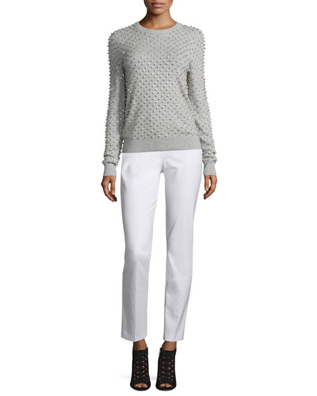 Rhinestone-Embellished Cashmere Sweater, Pearl/Gray