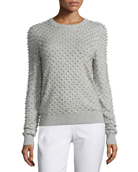 Michael Kors Collection Rhinestone-Embellished Cashmere Sweater,