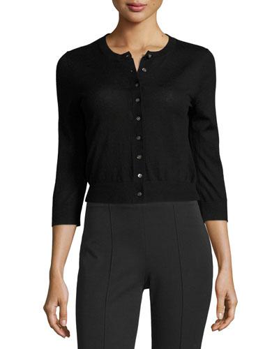 Long-Sleeve Cashmere Cardigan Sweater, Black