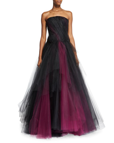 Strapless Two-Tone Tulle Gown