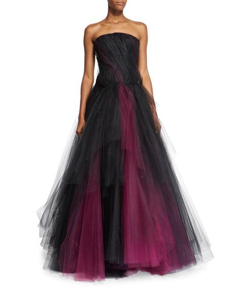 Oscar de la Renta Strapless Two-Tone Tulle Gown